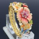 Enamel Butterfly Pink Flower Bracelet Bangle W/ Swarovski Crystals SKCA1775M-3
