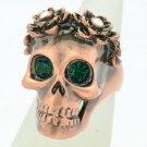 Swarovski Crystal Goth Style Flower Skull Cocktail Ring Sz 8# Green Eye SR2060-2