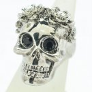 Swarovski Crystal Goth Style Flower Skull Cocktail Ring Sz 8# Black Eye SR2060