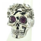 Swarovski Crystal Goth Style Flower Skull Cocktail Ring 7# Purple Eye SR2060-3