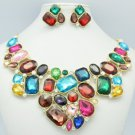 Attractive Rhinestone Crystals Multicolor Flower Necklace Earring Set 00381