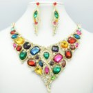 Gold Tone Rhinestone Crystal Multicolor Floral Flower Necklace Earring Set 00357