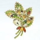 """Rhinestone Crystals Topaz Flower Leaf Brooch Broach 3.9"""" W/ Vintage Style 4037"""