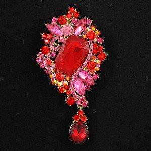 """Red Flower Brooch Broach Pin 3.7"""" W/ Rhinetone Crystals 4823"""