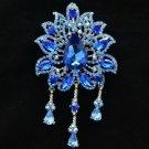 """3971 Blue Rhinestone Crystals Drop Leaf Flower Brooch Broach Pin 4.5"""""""
