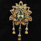 """3971 Topaz Rhinestone Crystals Drop Leaf Flower Brooch Pin 4.5"""" W/ Vintage Style"""