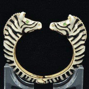 Animal Enamel Black Zebra Bracelet Bangle W/ Clear Rhinestone Crystals L1077