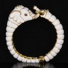 Enamel White Elephant Bracelet Bangle Cuff W/ Clear Rhinestone Crystals 00509