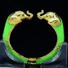 Fashion Animal Green Enamel 2 Elephant Bracelet Brangle Cuff Rhinestone Crystals