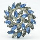 "Blue Round Flower Pendant Brooch Pin 2.2"" W/ Gray Rhinestone Crystals OFA2281"