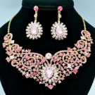 Pink Flower Princess Necklace Earring Set W/ Rhinestone Crystals 02585