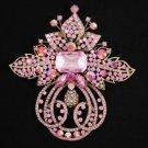 "Vintage Style Flower Brooch Broach Pin 4.5"" W/ Pink Rhinestone Crystals 4249"