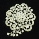 "Flower Pendant Brooch Pin 2.5"" W/ Clear Rhinestone Crystals Wedding 4660"