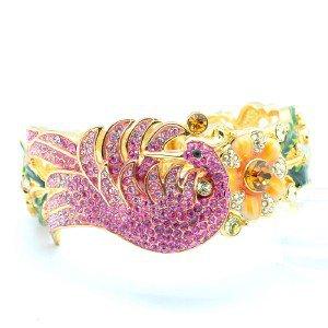 Swarovski Crystals H-Quality Animal Peafowl Peacock Bracelet Bangle SKSA1764-1