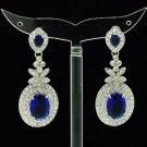 Drop Blue Zircon Dangle Flower Pierced Earring W Rhinestone Crystals 20341
