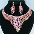 Vogue Animal Snake Necklace Earring Set w Fuchsia Swarovski Crystal 02621