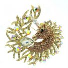 Vintage Style Rhinestone Crystals Lordly Brown Horse Unicorn Brooch Pin 3.2""