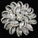 """Rhinestone Crystals Clear Round Flower Brooch Broach Pin 2.5"""" For Wedding 2984"""