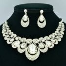 Bridal Teardrop Flower Necklace Earring Set Clear Rhinestone Crystals L00598