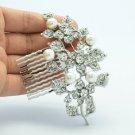 Wedding Imitation Pearl Clear Flower Hair Comb w/ Rhinestone Crystals 186RJK