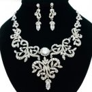Wedding Bridal Clear Flower Necklace Earring Set W/ Swarovski Crystals JNA2628