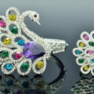 4 Colors Swarovski Crystals Swan Bracelet Bangle Cuff and Ring Set Jewelry