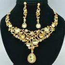 Charm Dangle Flower Necklace Earring Set Topaz Rhinestone Crystals L00519