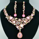 Gorgeou Dangle Pink Flower Necklace Earring Set Rhinestone Crystals L00519