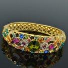 18K Gold GP Swarovski Crystals Flower Bracelet Bangle W Mix Enamel SKCA1609A-4