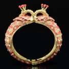 Red Animal Peafowl Peacock Bracelet Bangle W/ Clear Rhinestone Crystals 01078