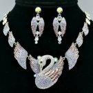 H-Quality Animal Purple Swan Necklace Earring Set W/ Swarovski Crystals SNA3173