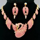 H-Quality Animal Pink Swan Necklace Earring Set W/ Swarovski Crystals SNA3173-1