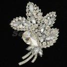 """Bridal Rhinestone Crystals Clear Flower Leaf Brooch Broach 3.9"""" For Wedding 4037"""