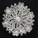 "Cute Clear Round Flower Brooch Pin 2.2"" W/ Rhinestone Crystals Silver Plated"