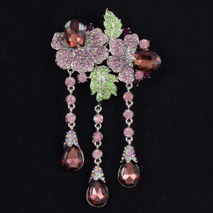 """Chic Orchid Floral Flower Brooch Pin 4.7"""" W/ Purple Rhinestone Crystals 4740"""