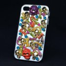 Multi Bone Snake Skull Cover Case Shell iPhone 4 4S w/ Mix Swarovski Crystals