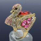 Vintage Style Animal Swarovski Crystals Goose Swan Cocktail Ring Sz 7# SR2069-3