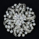 Clear Rhinestone Crystal Round Flower Brooch Broach Pin 4 Bridal Wedding 3804
