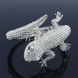 Clear Animal Gecko Lizard Bracelet Bangle Cuff W/ Rhinestone Crystals 20338