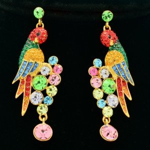 High Quality Pierced Bird Parrot Earring W/ Swarovski Crystals 4 color SEA0887