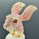 H-Quality Lovely Pink Bunny Rabbit Cocktail Ring Sz 7# Swarovski Crystal SR2139
