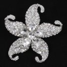 """Rhinestone Crystals Clear Starfish Brooch Braoch Pin 3.1"""" W/ Silver Tone 4824"""