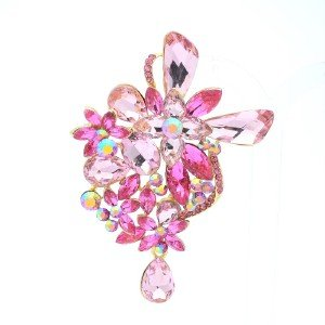 "Rhinestone Crystals Pink Drop Flower Brooch Broach Pin 3.4"" W/ Gold Tone 5997"