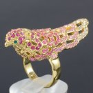 Swarovski Crystals Cocktail Pink Fashion Animal Bird Cocktail Ring Size 6# 1898