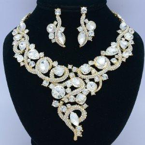 Clear Flower Necklace Earring Jewelry Sets W/ Rhinestone Crystals 02267 Wedding