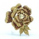 """Vintage Style Rhinestone Crystals Brown Rose Flower Brooch Broach Pin 2.7"""" 4139"""