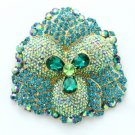 "4.0"" Teardrop Green Flower Pendant Brooch Broach Pin W/ Rhinestone Crystals 4914"