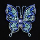 """Rhinestone Crystals Fashion Blue Butterfly Brooch Broach Pin 3.7"""" 4920"""