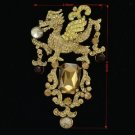 "Animal Dragon Brooch Broach Pin 4.3"" W/ Topaz Rhinestone Crystals 5121"