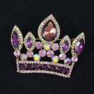 "Vintage Style 2.3"" Purple Crown Pendant Brooch Pin W/ Rhinestone Crystals 5050"
